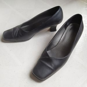 """Tradition """"Stephie"""" Square Toe Leather Heels"""